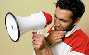 A man with a megaphone