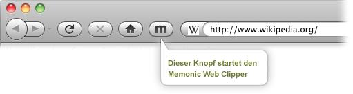 Memonic Web Clipper wird gestartet