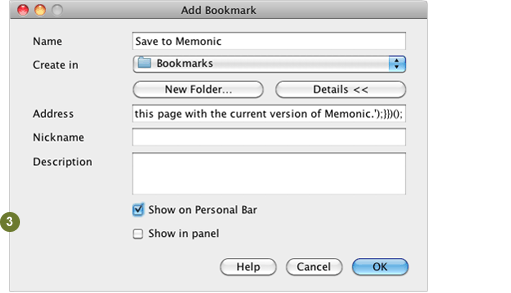 The Add Bookmark Dialog Box